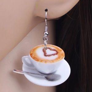Cappuccino Americana Coffee Cup Acrylic Earrings